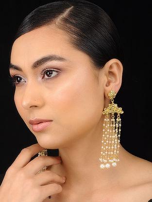 White Gold Tone Kundan Inspired Pearl Beaded Earrings with Tassles