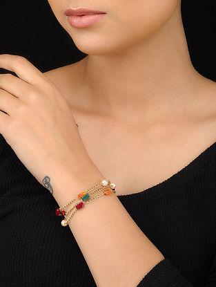 Multicolored Gold Tone Multistone Bracelet