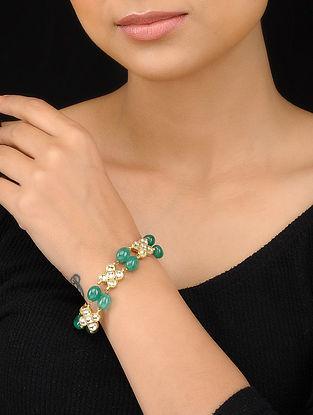 Emerald Green Gold Tone Kundan Inspired Bracelet