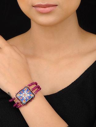 Red-Blue Gold Tone Meenakari Bracelet