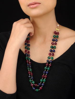Multicolored Gold Tone Beaded String Necklace