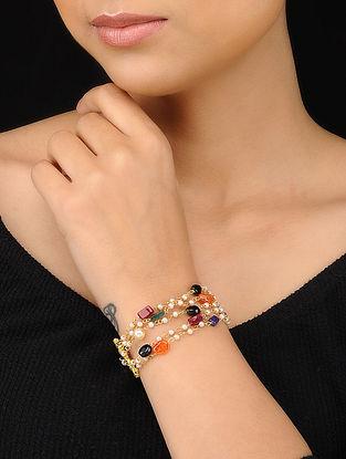 Multicolored Gold Tone Multistone Pearl Beaded Bracelet