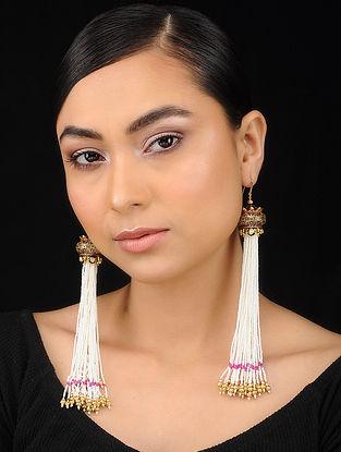 White Gold Tone Pearl Beaded Earrings