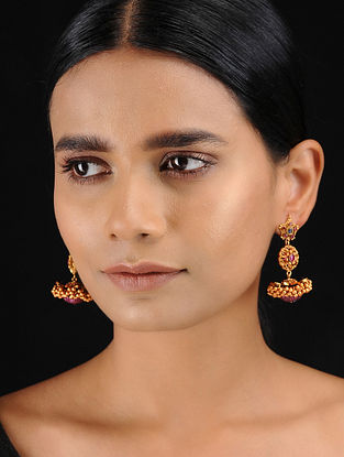 Red-Blue Gold Tone Temple Work Jhumkis