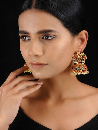 Blue-Coral Gold Tone Temple Work Jhumkis