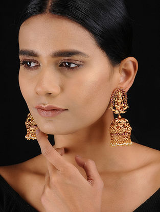 Pink Gold Tone Temple Work Jhumkis
