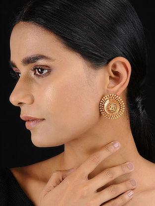 Classic Gold Tone Temple Work Stud Earrings