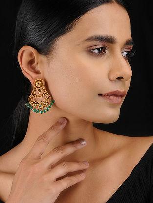 Green Gold Tone Temple Work Chandbali Earrings