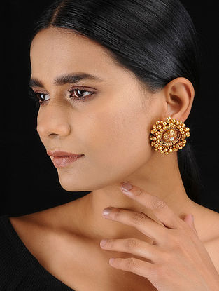 Classic Gold Tone Temple Work Stud Earrings with Ghungroo