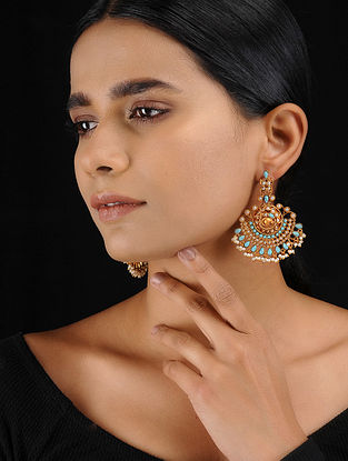 Turquoise Gold Tone Temple Work Chandbali Earrings