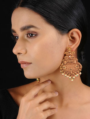 Classic Gold Tone Temple Work Chandbali Earrings with Pearls