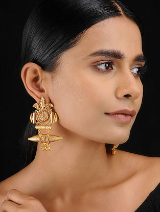 Classic Gold Tone Temple Work Earrings