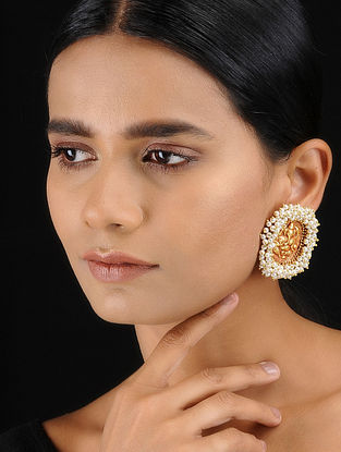 Classic Gold Tone Temple Work Stud Earrings with Pearls