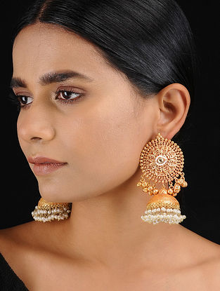 Classic Gold Tone Temple Work Jhumkis with Pearls