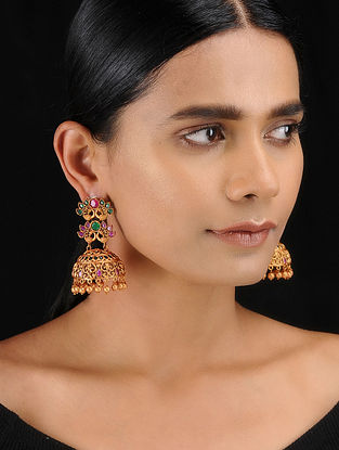 Red-Green Gold Tone Temple Work Jhumkis