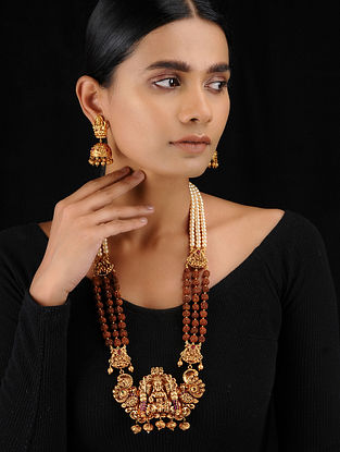Red Gold Tone Temple Work Rudraksh and Pearl Beaded Necklace with Earrings (Set fo 2)