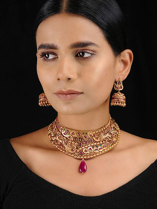 Red-Green Gold Tone Temple Work Choker Necklace with Earrings (Set of 2)