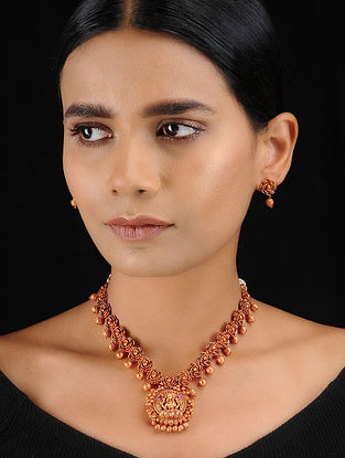 Red Gold Tone Temple Work Pendant Necklace with Earrings (Set of 2)