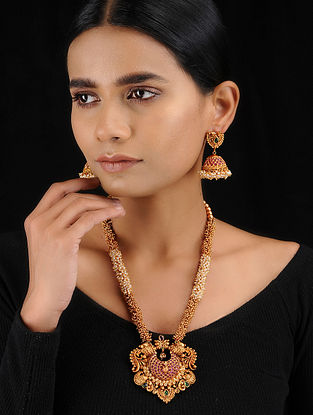 Red-Green Gold Tone Temple Work Pearl Beaded Necklace with Jhumkis (Set of 2)