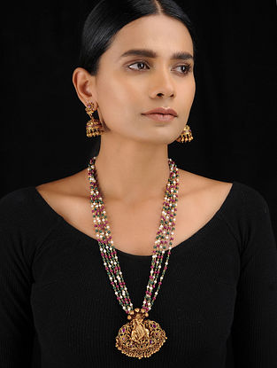 Multicolored Gold Tone Temple Work Pearl Beaded Pendant Necklace with Earrings (Set of 2)
