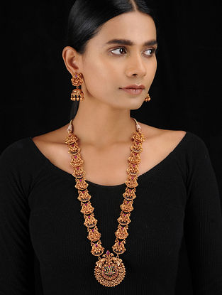 Multicolored Gold Tone Temple Work Necklace with Earrings (Set of 2)