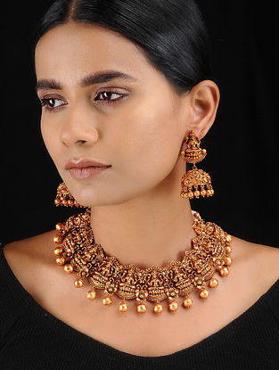 Classic Gold Tone Temple Work Necklace with Earrings (Set of 2)
