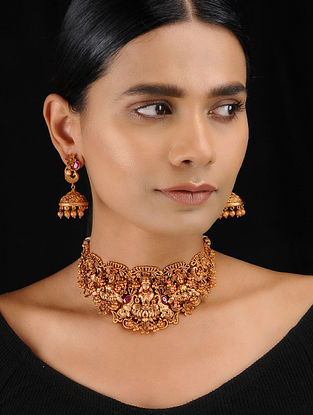 Red Gold Tone Temple Work Choker Necklace with Earrings (Set of 2)
