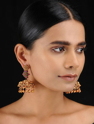 Red Gold Tone Temple Work Jhumkis