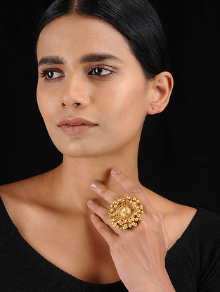 Classic Gold Tone Temple Work Adjustable Ring with Ghungroo