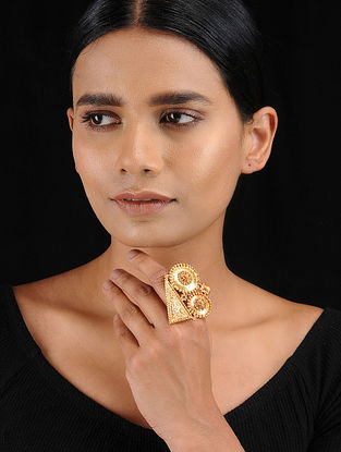 Classic Gold Tone Temple Work Adjustable Ring