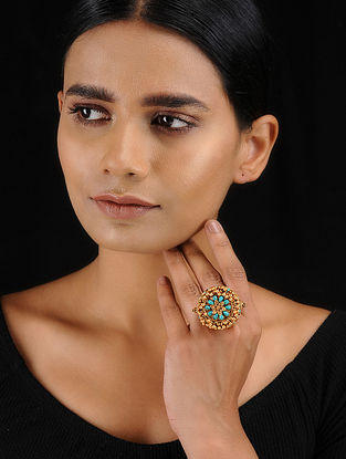 Turquoise Gold Tone Temple Work Adjustable Ring