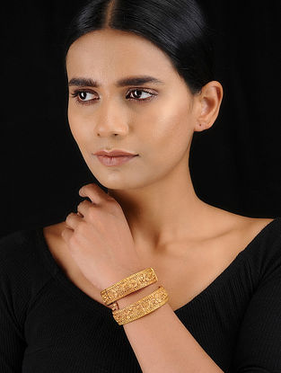 Classic Gold Tone Temple Work Bangles