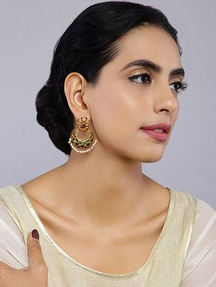 Green Gold Tone Temple Work Chandbali Earrings