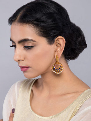 Blue Gold Tone Temple Work Chandbali Earrings