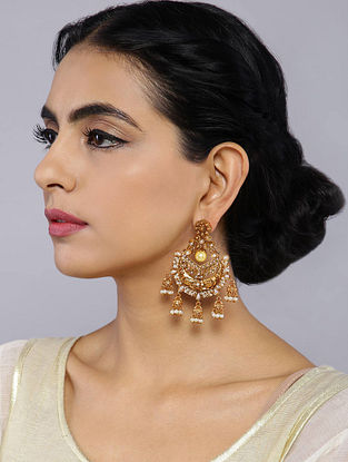 Classic Gold Tone Temple Work Chandbali Earrings