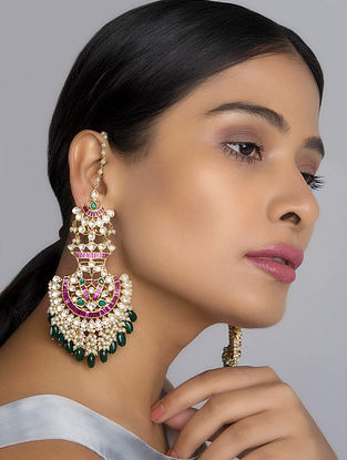 Pink-Green Polki Temple Work Chandbali Earrings