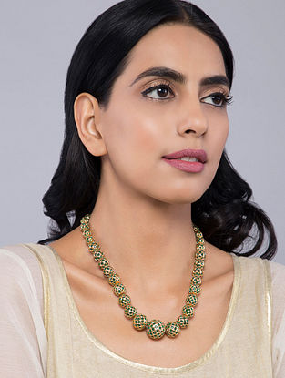 Green Gold Tone Temple Work Jadau Necklace
