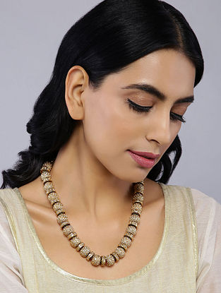 Classic Gold Tone Temple Work Pearl Beaded Jadau Necklace