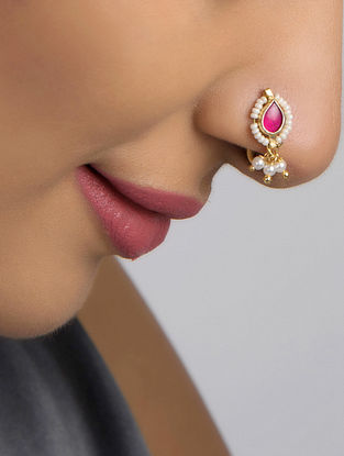 Pink-White Gold Tone Polki and Pearl Beaded Nosepin