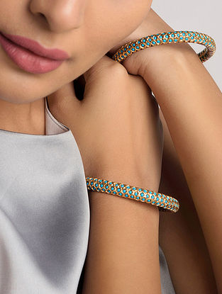 Turquoise Gold Tone Temple Work Bangles