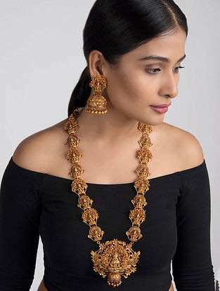 Pink Gold Tone Temple Work Necklace with Jhumkis (Set of 2)