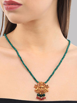 Green Gold Tone Temple Work Necklace