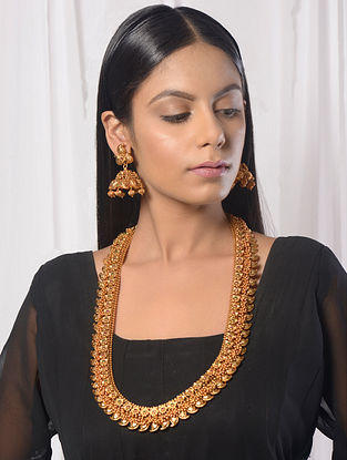 Classic Gold Tone Temple Work Necklace with Jhumkis (Set of 2)