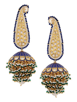 Blue Gold Tone Meenakari and Polki Jhumkis
