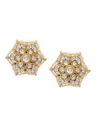 Classic Gold Tone Kundan Inspired Pearl Beaded Stud Earrings