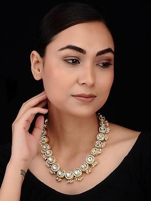 Turquoise Gold Tone Meenakari and Polki Necklace