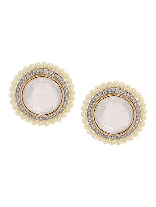 Gold Tone Polki and Pearl Beaded Stud Earrings