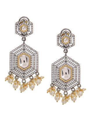 Gold Tone Polki and Pearl Beaded Earrings