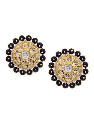 Blue Gold Tone Polki and Onyx Stud Earrings