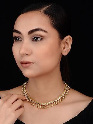 Classic Gold Tone Polki Choker Necklace